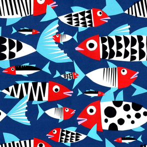 Big Fishes in Blue and Red