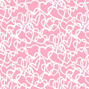 Hearts Entwined - White on Pink (large)