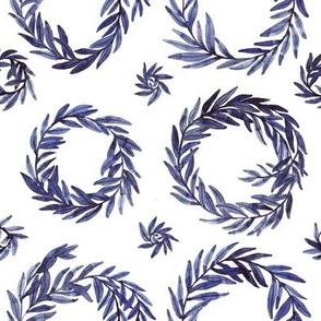 Indigo Wreath White Large