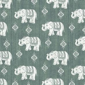 Sharavathi Elephants - Green Earth - Large Scale