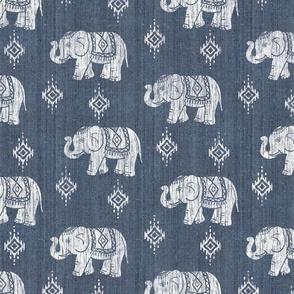 Sharavathi Elephants - Indigo - Large Scale