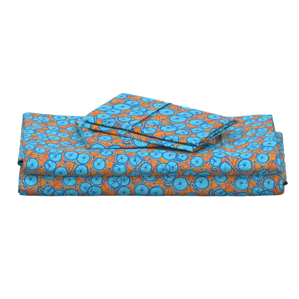 Langshan Full Bed Set featuring Summer Cycle blue  by spellstone