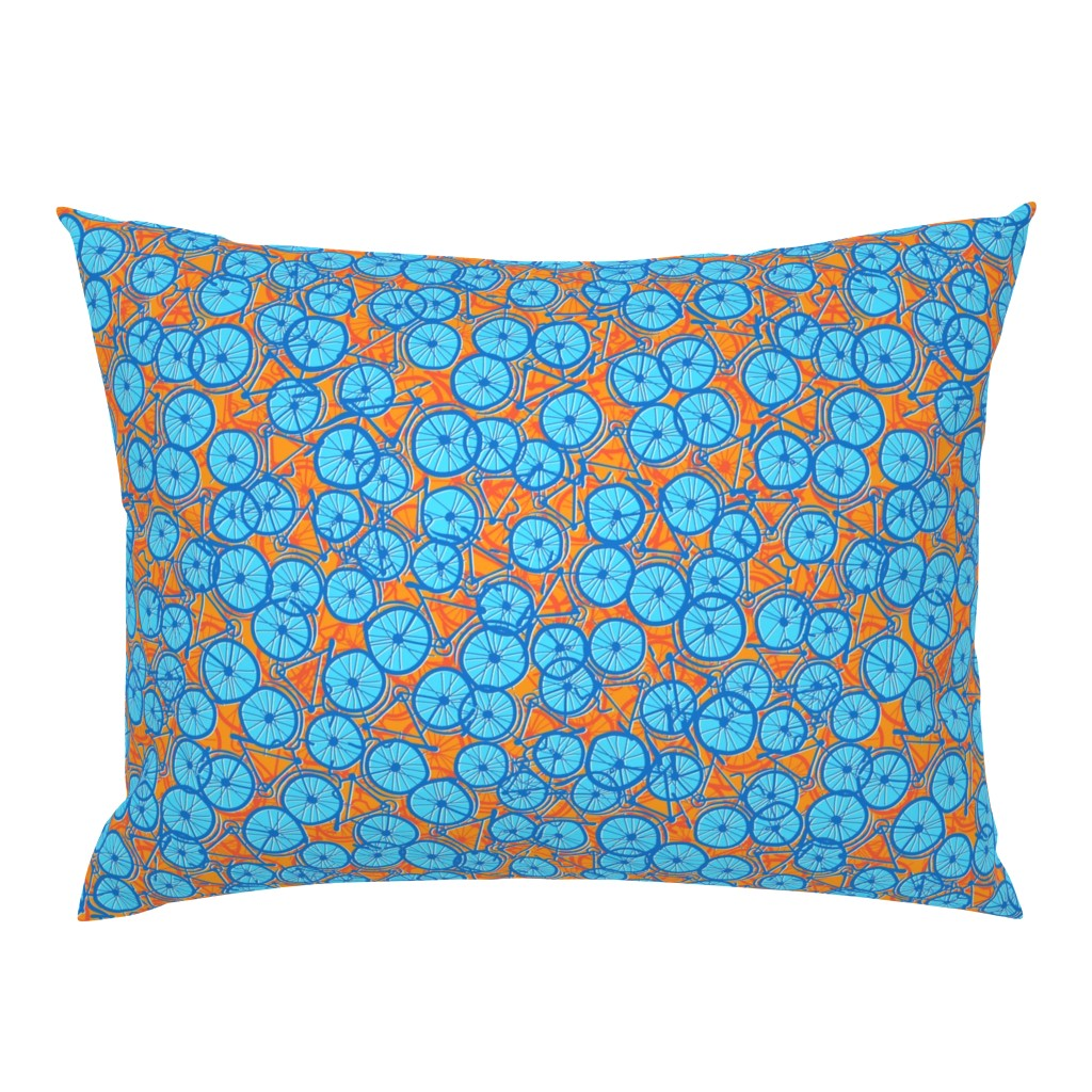 Campine Pillow Sham featuring Summer Cycle blue  by spellstone