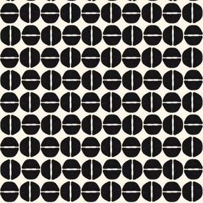 19-13u Black  Ivory White Cream Abstract Wine Bottle Dots
