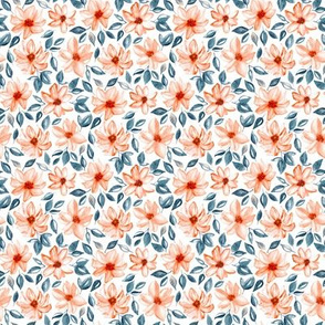 Orange & Navy Watercolor Floral (Small Version)