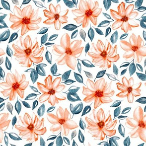 Orange & Navy Watercolor Floral (Medium Version)