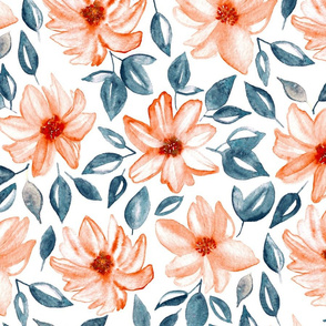 Orange & Navy Watercolor Floral (Large Version)