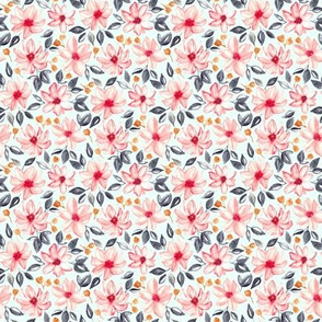 Navy, Gold & Pink Watercolor Floral - Mint (Small Version)