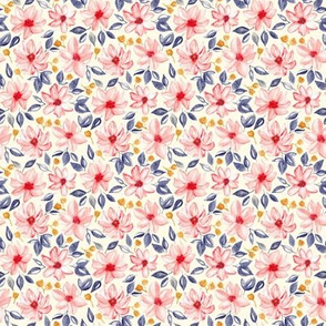 Navy, Gold & Pink Watercolor Floral - Cream (Small Version)