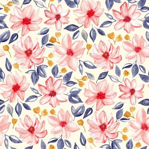 Navy, Gold & Pink Watercolor Floral - Cream (Medium Version)