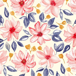 Navy, Gold & Pink Watercolor Floral - Cream (Large Version)