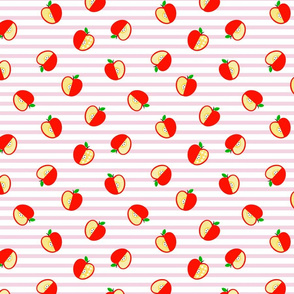 Tossed Apples on Pink Stripes