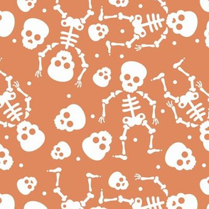Little skulls and skeleton day of the dead halloween October fall design pumpkin orange