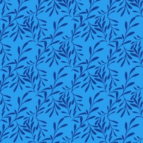 A Drift of Navy Blue Leaves on Summer Daze Blue - Small Scale