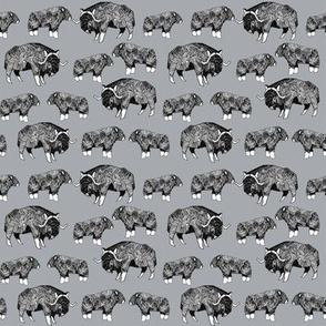 SMALL - musk ox fabric // arctic animal fabric canada alaska greenland - grey