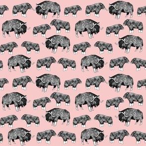 SMALL - musk ox fabric // arctic animal fabric canada alaska greenland - pastel pink
