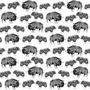 SMALL - musk ox fabric // arctic animal fabric canada alaska greenland - white