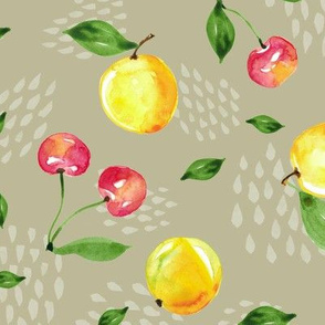 Cherry and Peach Watercolor