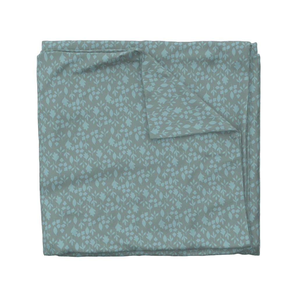 Wyandotte Duvet Cover featuring Foliage {Blue on Grey} by ceciliamok