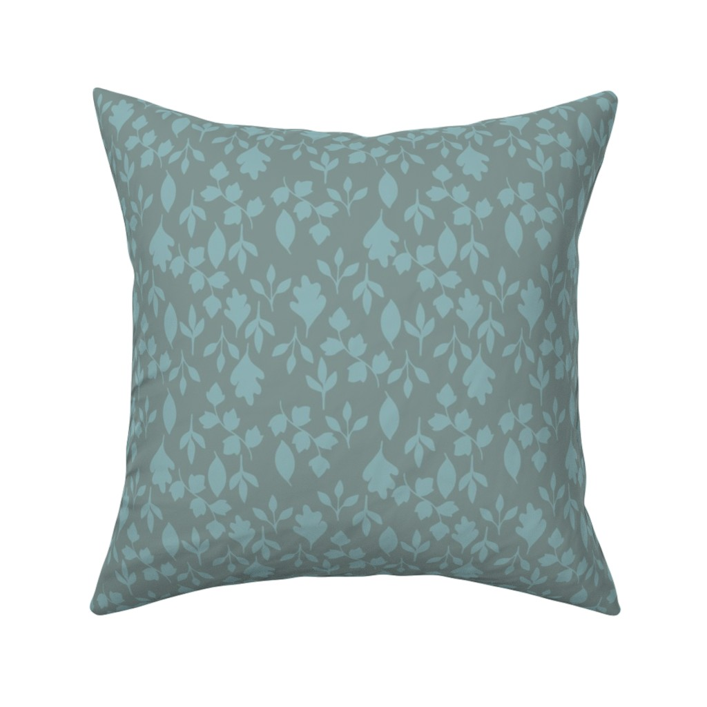 Catalan Throw Pillow featuring Foliage {Blue on Grey} by ceciliamok