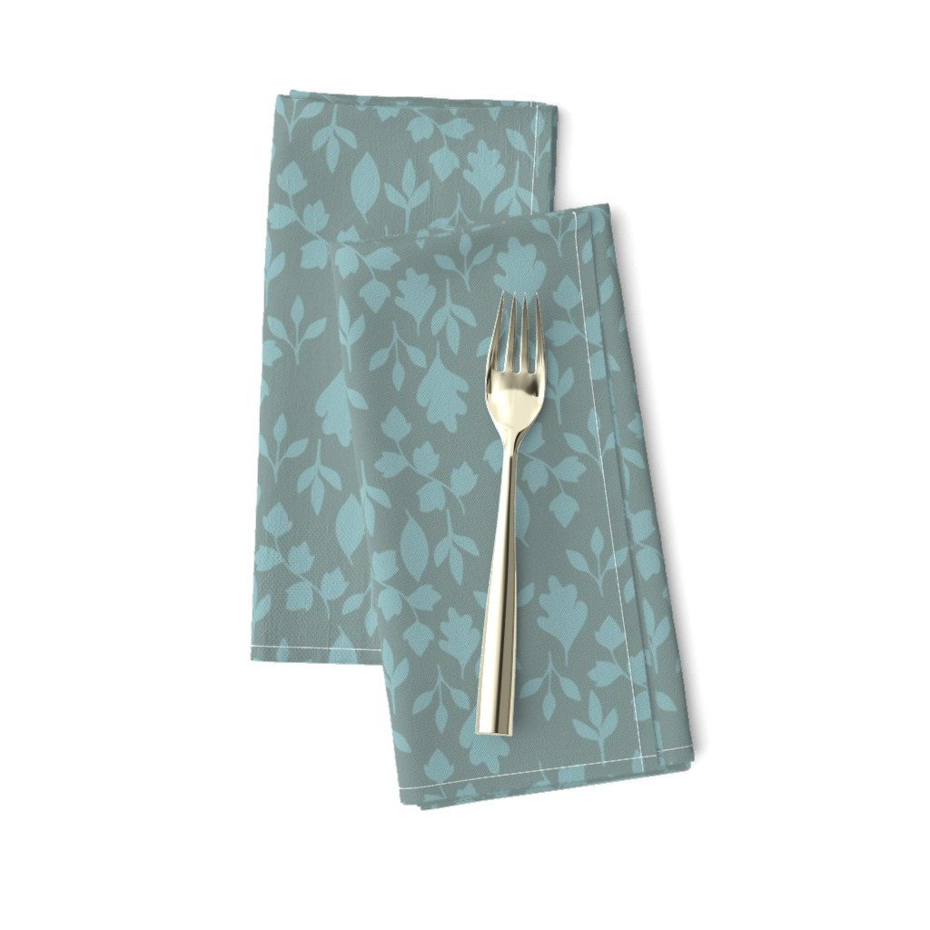 Amarela Dinner Napkins featuring Foliage {Blue on Grey} by ceciliamok