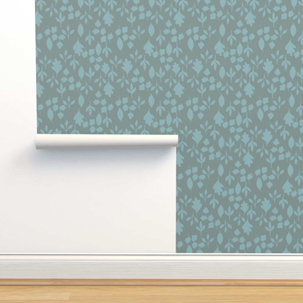 Isobar Durable Wallpaper featuring Foliage {Blue on Grey} by ceciliamok