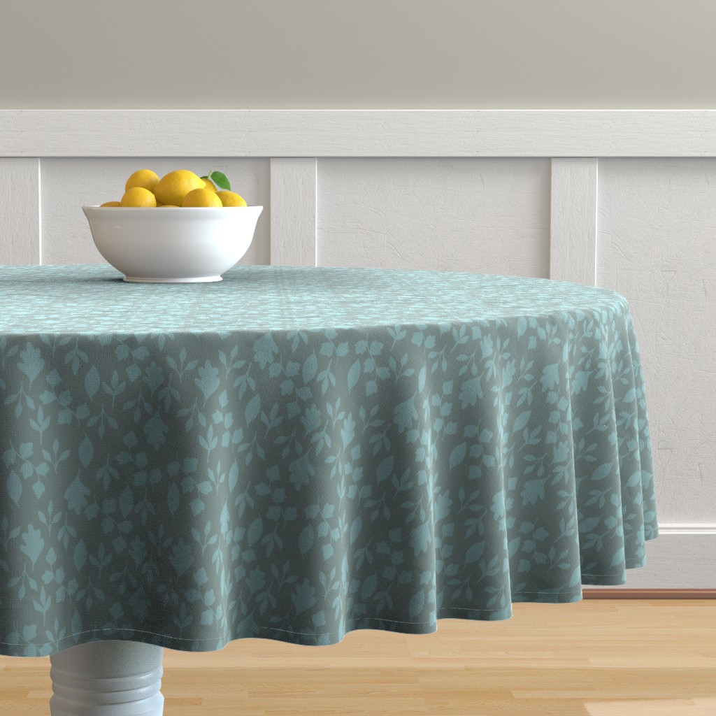 Malay Round Tablecloth featuring Foliage {Blue on Grey} by ceciliamok