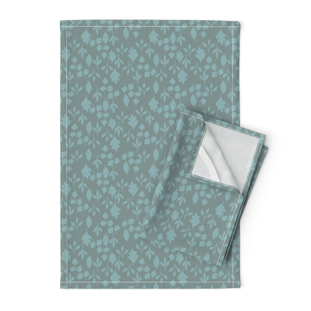 Orpington Tea Towels featuring Foliage {Blue on Grey} by ceciliamok