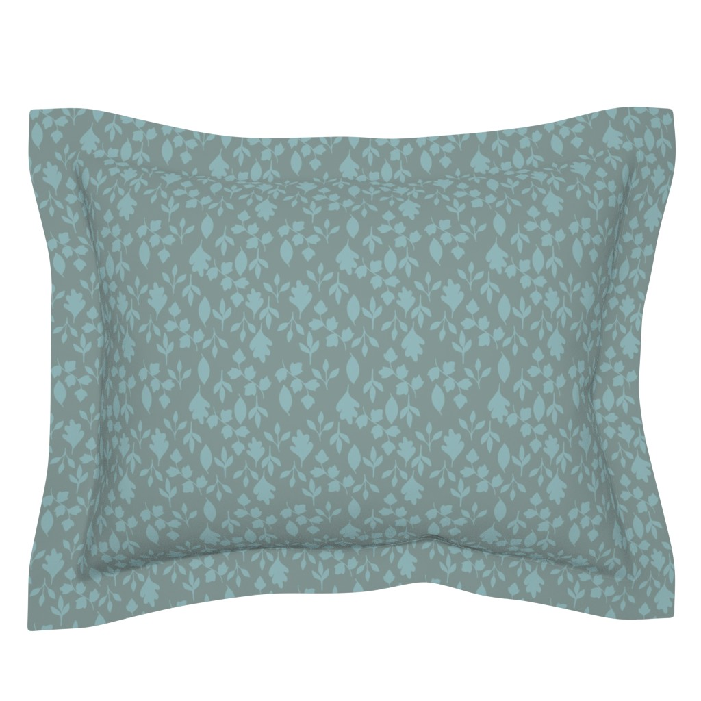 Sebright Pillow Sham featuring Foliage {Blue on Grey} by ceciliamok