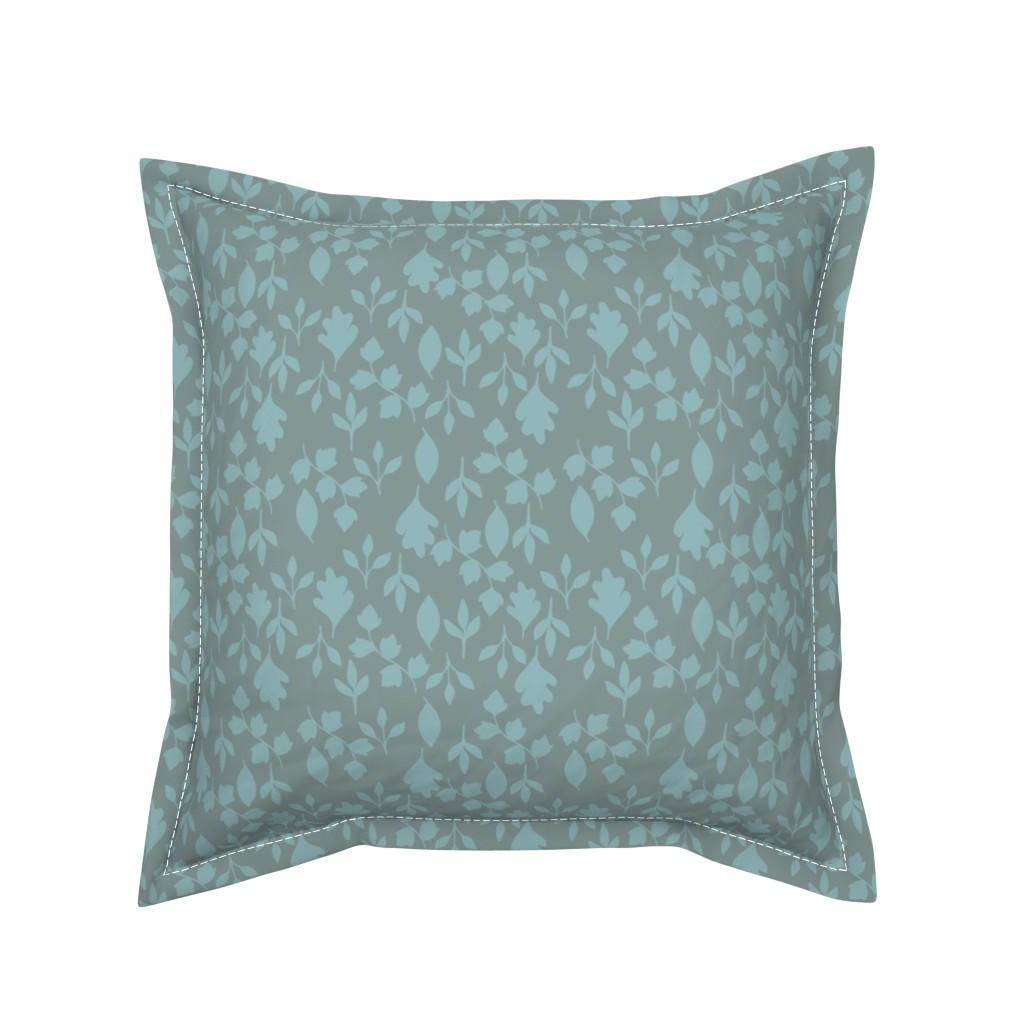 Serama Throw Pillow featuring Foliage {Blue on Grey} by ceciliamok