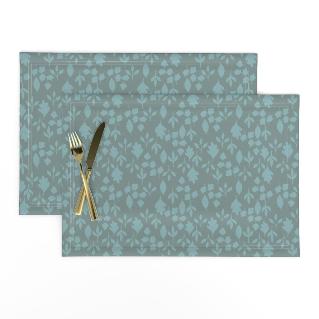 Lamona Cloth Placemats featuring Foliage {Blue on Grey} by ceciliamok