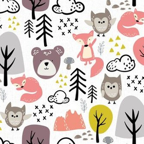 Textured Woodland Animals - Girls