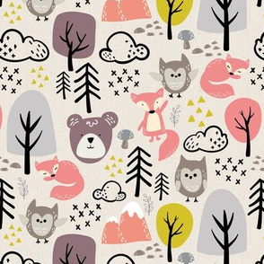 Textured Woodland Animals Beige - Girls