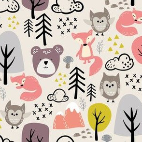 Woodland Animals Beige - Girls