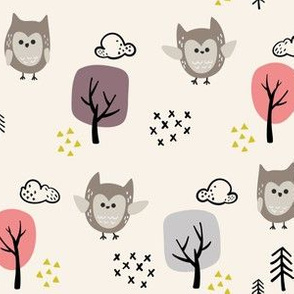 Woodland Animals Owl V2 Beige - Girls