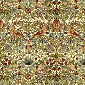 William Morris ~ Strawberry Thief ~ Trianon Cream  ~ One Foot Repeat