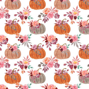 Watercolor Pumpkins - White