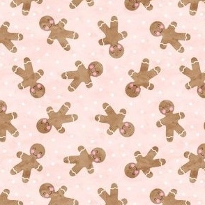 (small scale) gingerbread man toss on pink - cute watercolor christmas cookies - LAD19BS