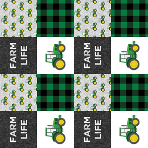 Farm Life - Tractors - Green and Black - Plaid (90) - LAD19