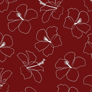 freehand hibiscus - rust - large