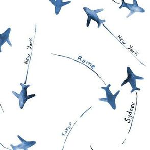 around the world • indigo • watercolor airplanes