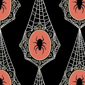 Spooky Spider Cameos on Spiderweb Lace on Black