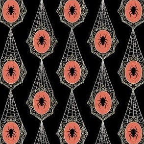 Black Spiderweb Lace with Spider Cameos - Small