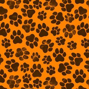 Black Pawprints on Orange Large