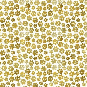 Small Gold Paw Prints on White