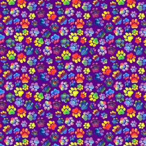 Rainbow Pawprints on Purple Small