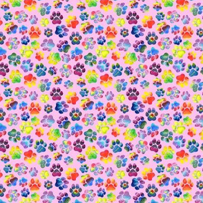 Rainbow Pawprints on Pink - Small