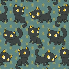 Black Cats and Gold Spiders on Teal