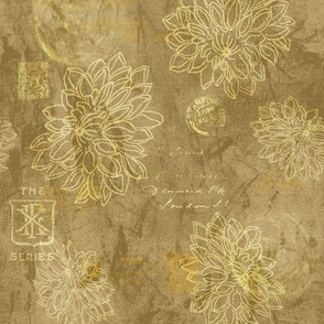 19-13r Flower Collage Stamps Ochre Yellow Gold Blender Batik