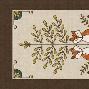 Folksy Foxes Tea Towel